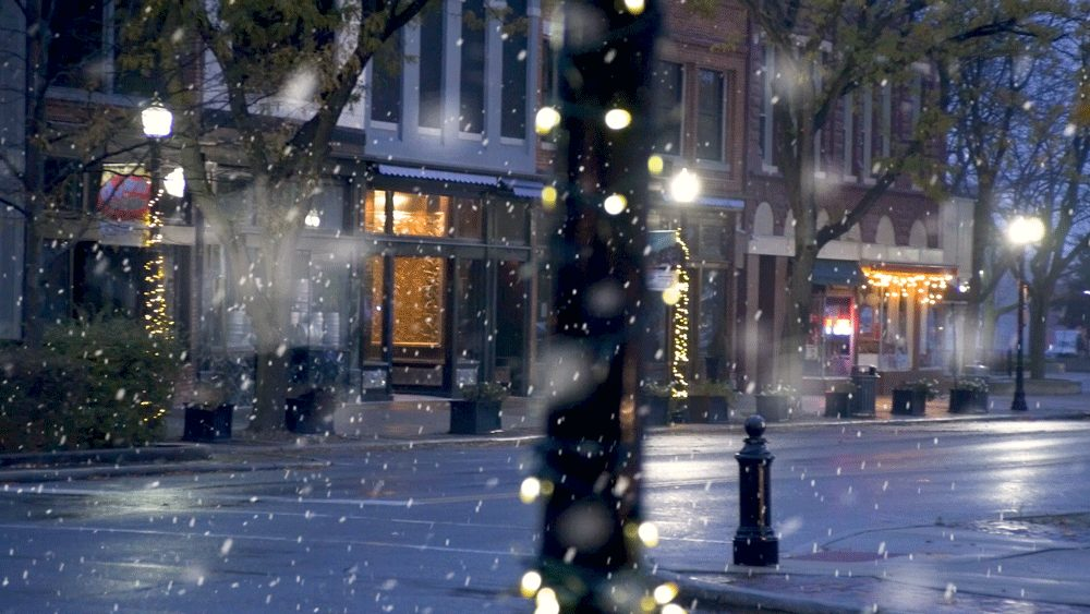 A winter holiday scene in downtown LIma, Ohio was easy to recreate as some lampposts and businesses keep Christmas lights up all years round. A little digital snow finished off the effect.